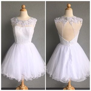 White Beaded Formal Party Prom Dress Size S